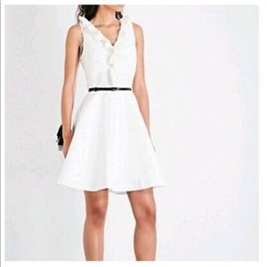 Ted Baker London Ivory Ruffle V-neck Skater Dress